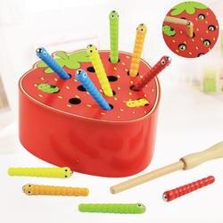 Деревянные игрушки Монтессори гусеница съедает яблоко дети ловят черви соответствующие парные игры ранняя образовательная Интерактивная
