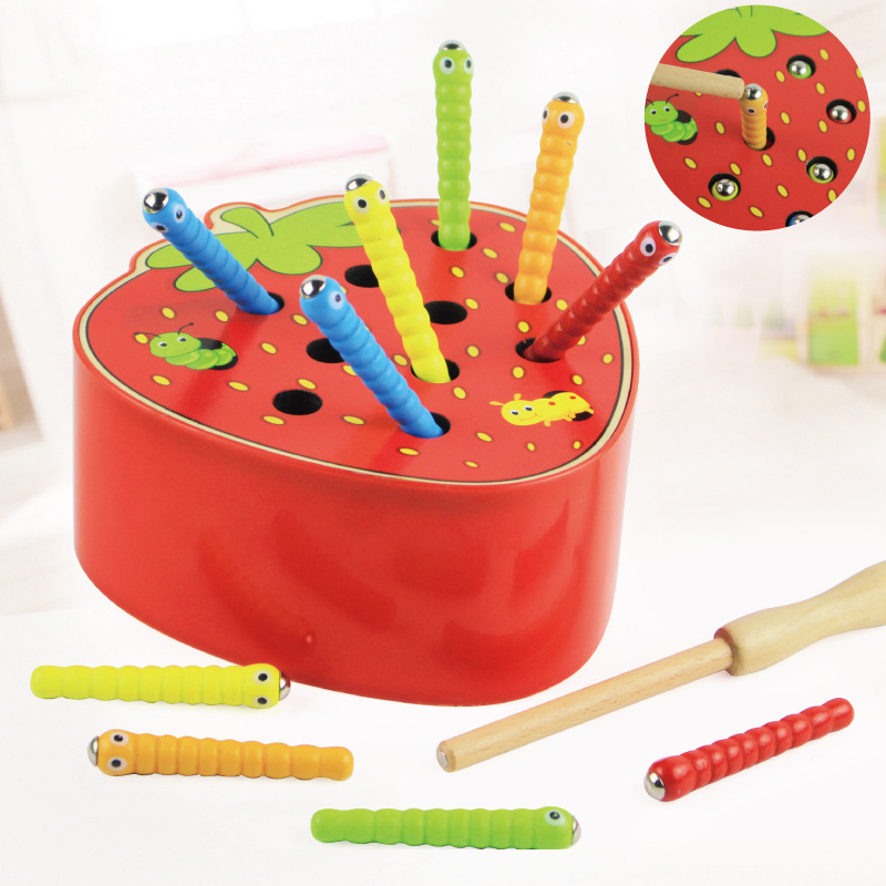 3D Montessori Wooden Toys Caterpillar Eats The Apple Kids Catch Worms Interactive Matching Pair Games Math Early Educational Toy(China)