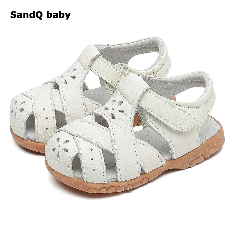 2018 New Girls Sandals Summer Style Genuine Leather Kids Shoes Hollow Out Snowflake Children Sandals Baby Toddler Shoes