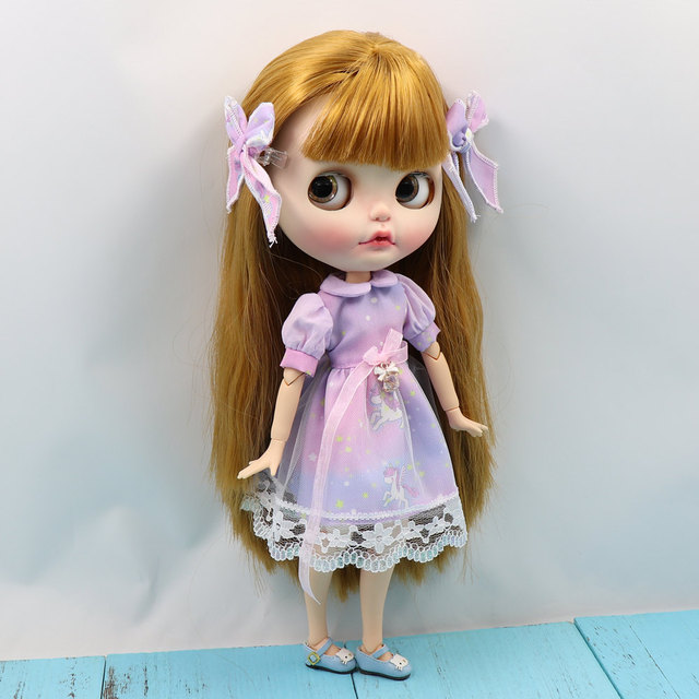 Blyth doll glittering dream purple dress with headwear for the joint body clothes free shipping