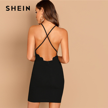 SHEIN Black Scallop Trim Halter Dress Elegant Spaghetti Strap Solid Slim Short Dress Summer Modern Lady Women Sexy Party Dresses