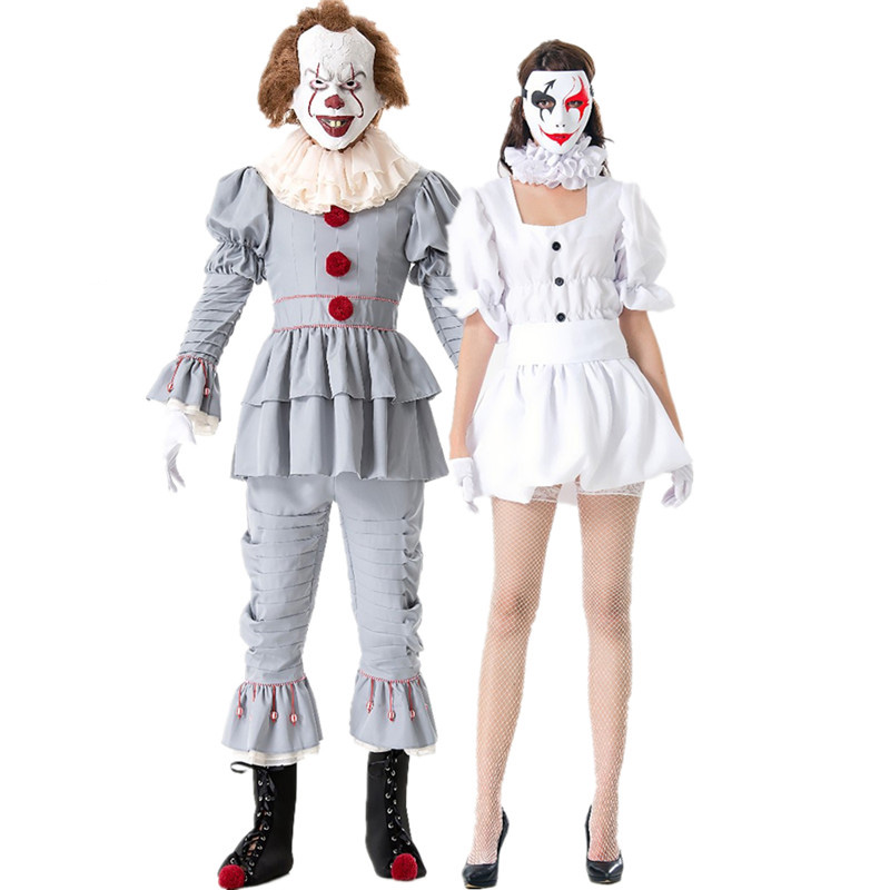 Unisex Adult Men Stephen King's It Cosplays women Halloween Clown Joker Pennywise Costume Carnival Purim masked ball party Dress
