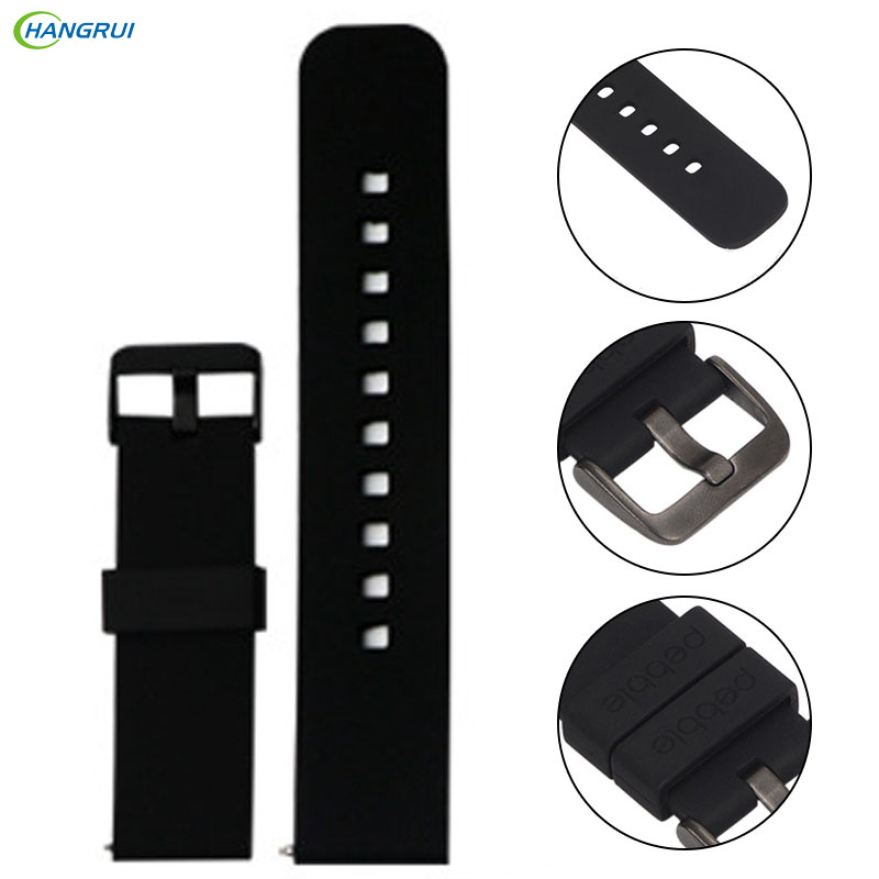 HANGRUI Sports Silicone Watch Band for xiaomi huami Amazfit Big BIT PACE Lite Youth 22mm Steel Buckle Replace Wristbands Strap