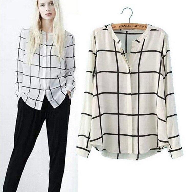 2015-New-Fashion-Blouse-Hot-Sale-Plaid-Shirt-Women-Long-Sleeve-White-Casual-Blusas-Camisas-Femininas