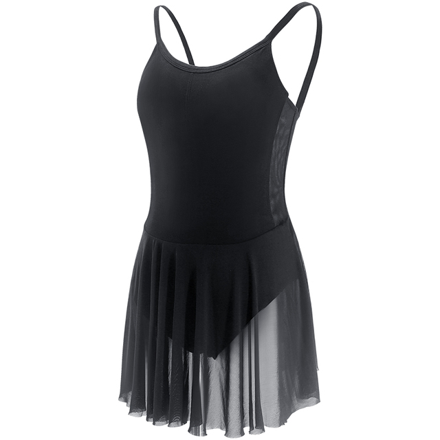6f797ee425957 Lyrical Ballet Dress Women Camisole Leotard Dress Girls Adult Black Dance  Costumes With Mesh Skirt