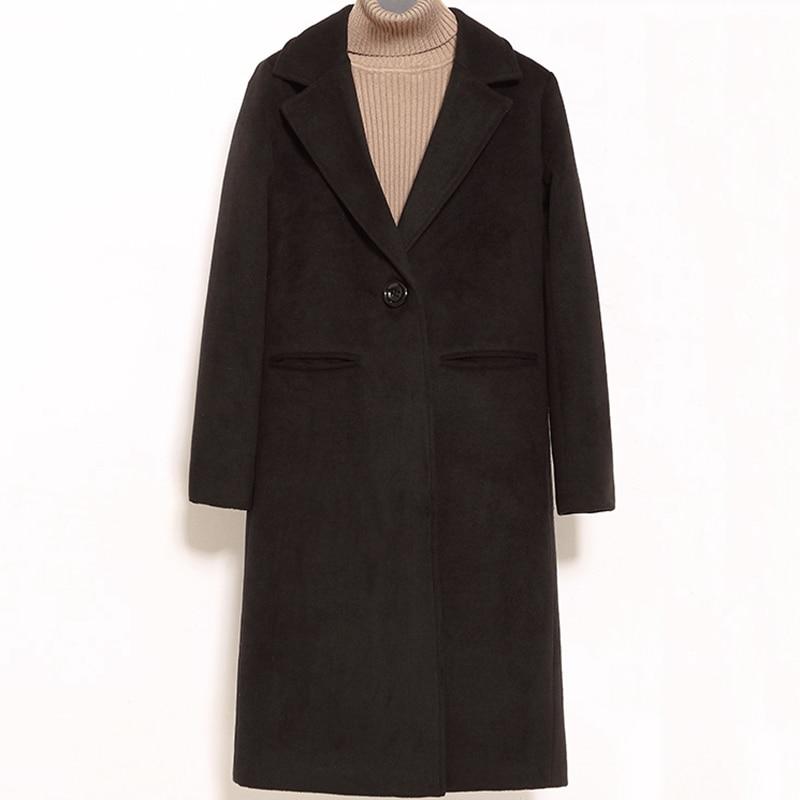 Laine Bouton Nouveau Solide La De Veste Femmes Couleur caramel Taille Lj055 Hiver Plus Mode Manteau Automne Unique Long Black nqwAZCCX