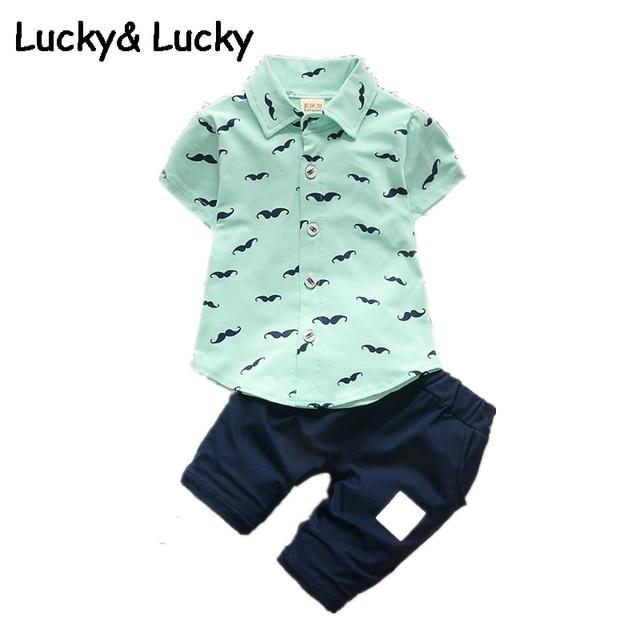 4d847dce1c5a50 Baby boy kleding katoenen baby jongen kleding set korte mouw Baard gedrukt  babykleding set casual stijl