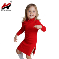 Girls Winter Sweater Dresses Toddler Baby Girls Winter Spring Qipao Chinese Year Dress Thicker Red Pink