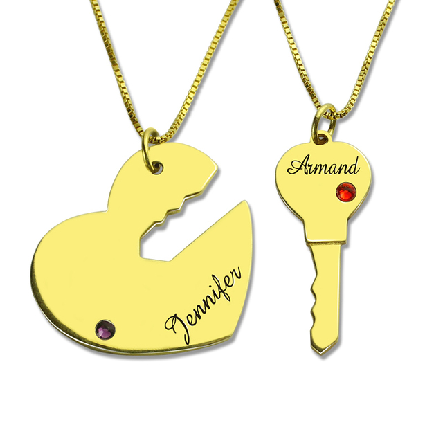 Key To My Heart Couples Name Necklace Gold Color Engraved