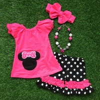 in stock girls minnie Capri set girls dark pink Capri sets girls boutique clothing with matching necklace and headband