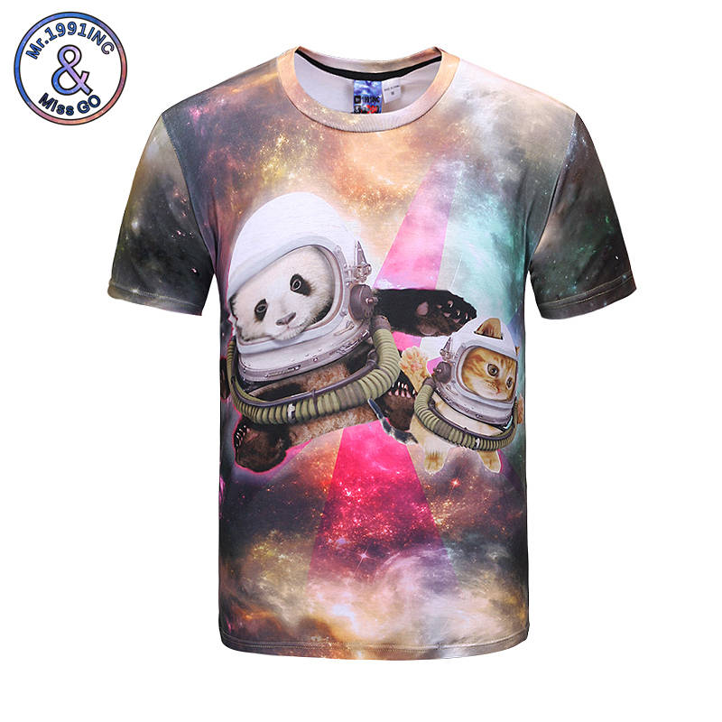 Mr.1991INC Print T shirt Hot Sell Mens 3d T-shirt Starry Sky Animals Astronaut Printing Short Sleeve Summer New Style Tops Tees