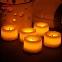 Parlak Sarı Işık Alevsiz LED Çay Işık Mum Set 4 Fildişi Renk Gerçek Wax Çay Işık Mum Tatil için dekorasyon