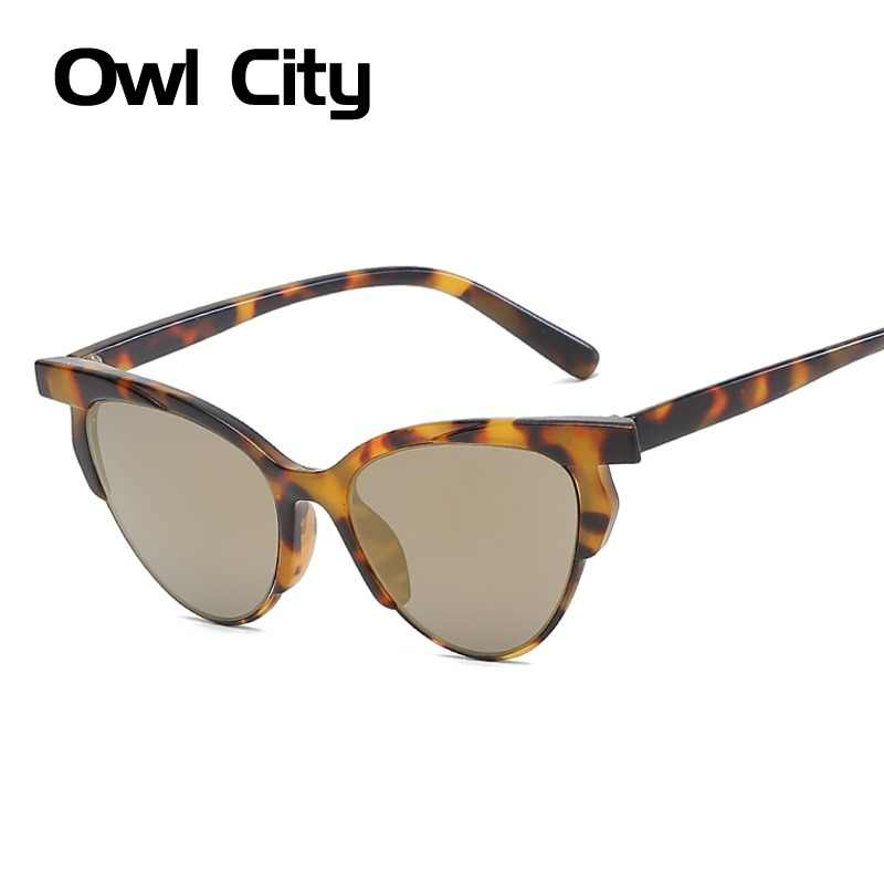 20afcb6801ec Owl City 2019 Cat Eye Sunglasses Women Retro Brand Designer Sunglass Half Frame  Female Eyewear Vintage