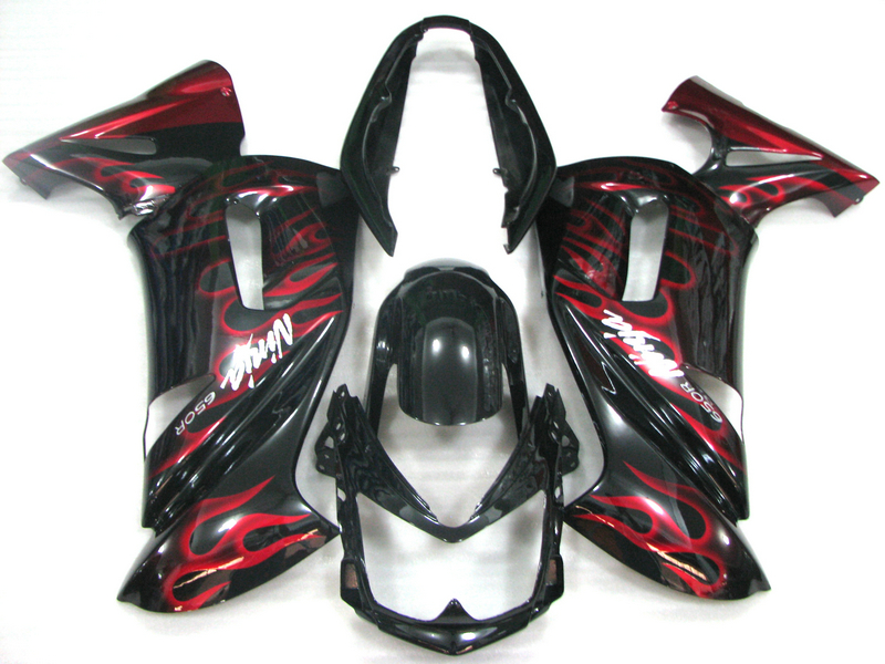 Motorcycle fairing kit for Kawasaki Ninja 650R 06 07 08 red flames black fairings set 650r 2006 2007 2008 OW08 abs plastic fairings for kawasaki ninja zx6r 2005 2006 green black motorcycle fairing kit zx6r 05 06 ty32