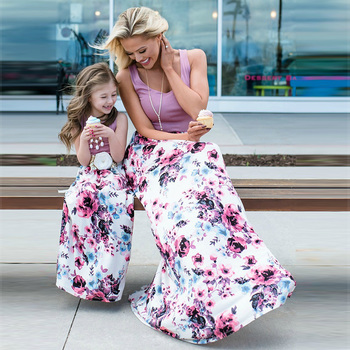 Mother Daughter Dresses Fashion Patchwork Floral Long Dress Mommy and me clothes vestido mae e filha Family matching clothes 1