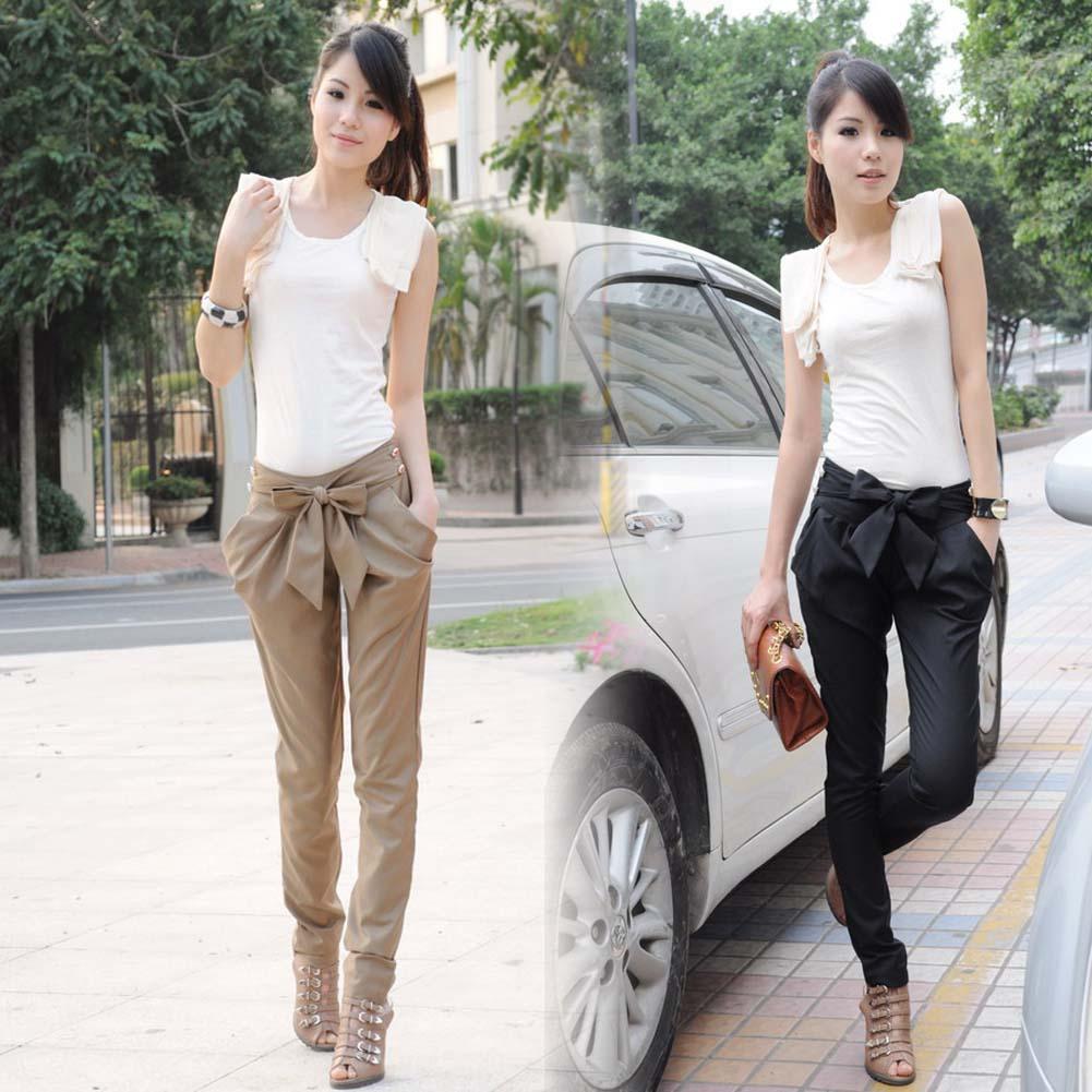 Luxury Brand Summer Women Pants Casual Harem Pants Large Bowknot Slim Trousers Fashion Korean sweet Girl Clothes SL LB