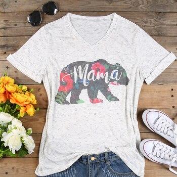 Плюс Размеры футболка Для женщин V шеи короткий рукав летние цветочные мама Медведь футболка Повседневная Женская обувь футболка Топы Мода ... >> Perhaps Aimee Store