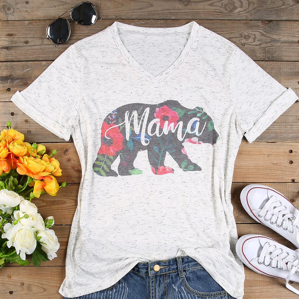 Plus Size T Shirt Women V Neck Short Sleeve Summer Floral mama bear t Shirt Casual Female Tee Ladies Tops Fashion t shirt 3XL  stylish short sleeve round neck high low hem tower and letter print t shirt for women