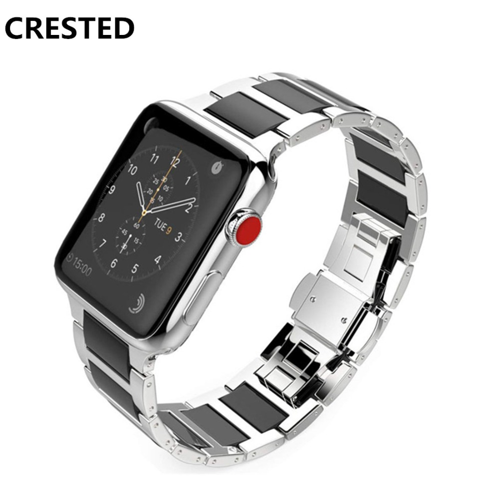 все цены на CRESTED Stainless Steel Strap For Apple watch band 44mm 40mm iWatch Series 3/2/1 Ceramic wrist bands Link Bracelet belt correa