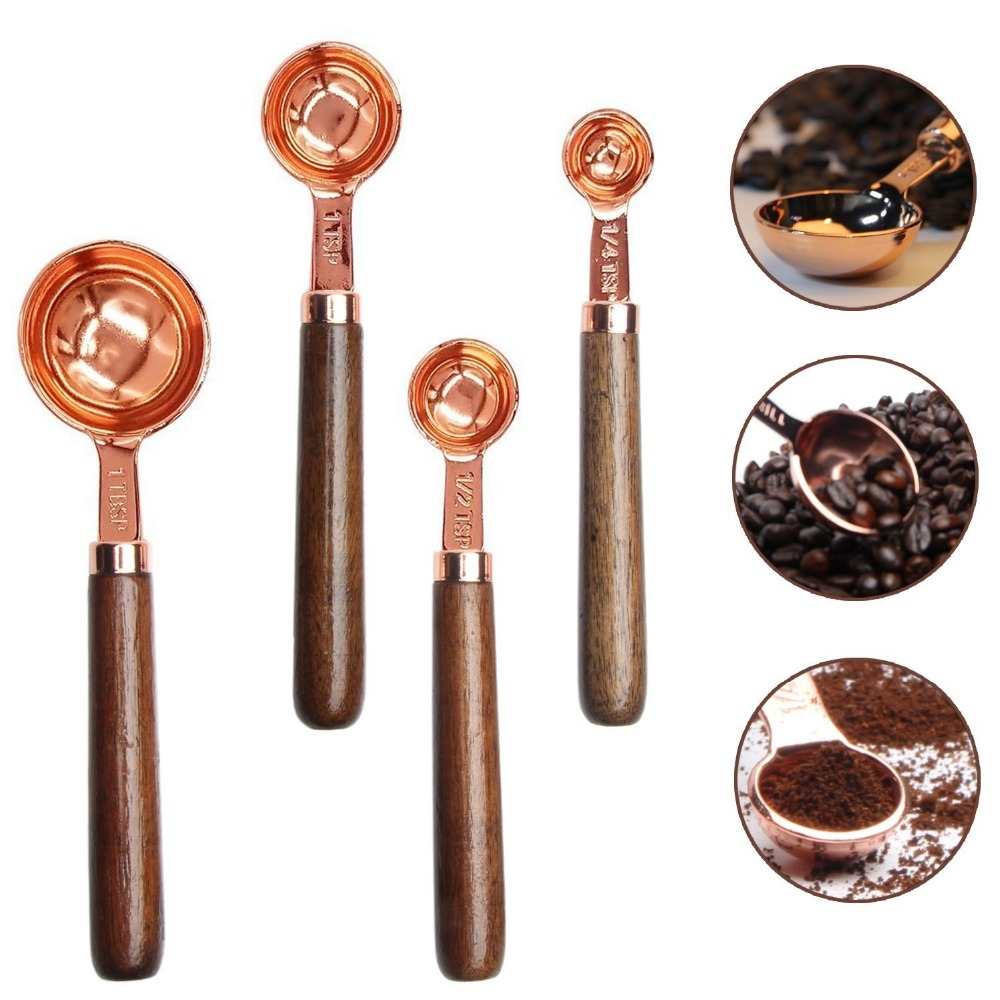 Functional Copper Kids Kitchen Set: Copper Stainless Steel Set Of 4 Measuring Spoons With Wood