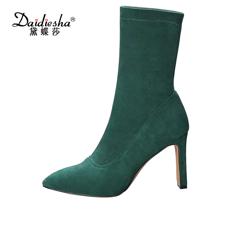 Daidiesha 2017 Plus size 43 new autumn faux Suede Women Ankle Boots Sexy Pointed toe High Heels shoes woman slip on slim bota