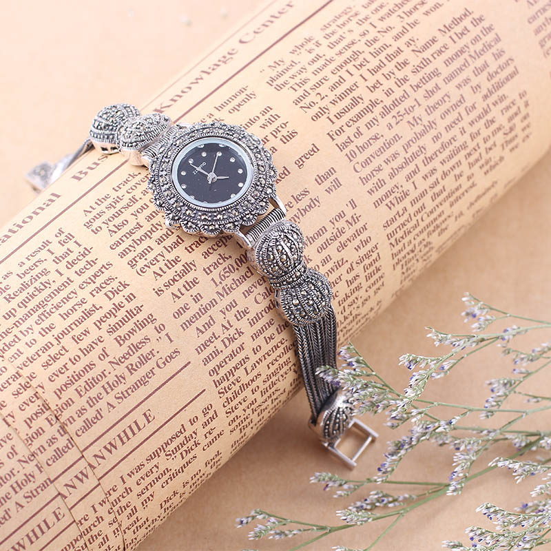 100% S925 Sterling Silver Watches Women Quartz Wristwatch Ladies Vintage Thail Silver Watch Woman Gifts