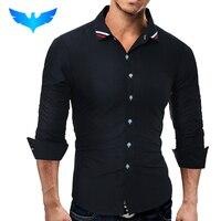 QINGYU Brand 2017 Fashion Male Shirt Long Sleeves Tops Classic Pure Color Ribbon Mens Dress Shirts