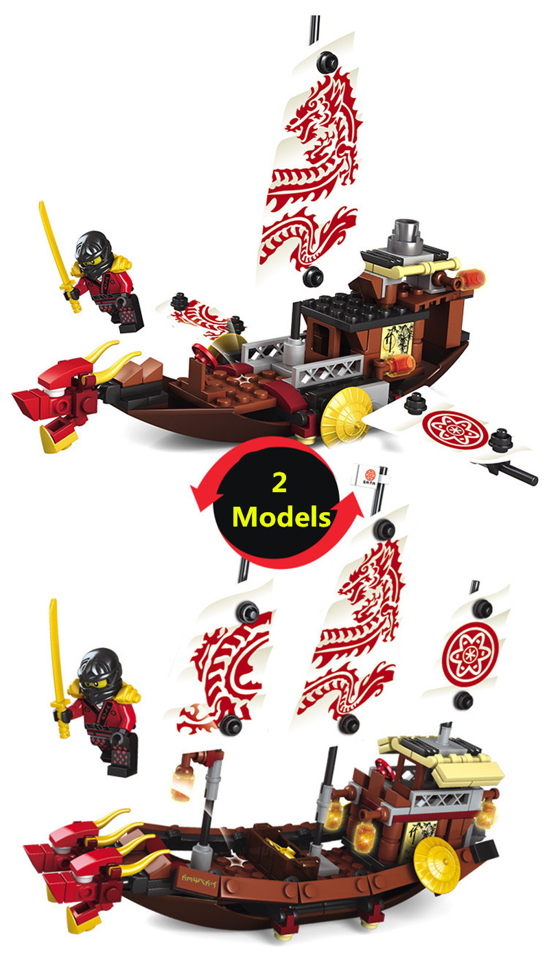 Image 4 - 207pcs 2in1 Ninja Destiny Awards Ninja Dragon Boat DIY Building Block Educational Toys For Children Compatible Legoingly Ninjago-in Blocks from Toys & Hobbies