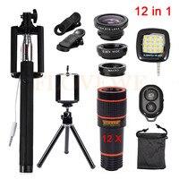 12in1 Kits 12x Zoom Telephoto Lentes HD Phone Lens Kit Fisheye Wide Angle Macro Lenses Selfie