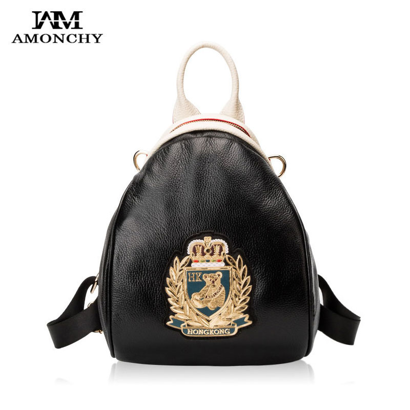 AMONCHY Genuine Leather Backpacks For Women 100% Cowhide Shoulder Bags Fashion Little Bear Backpack Female Casual Campus Bag New hot fashion design personality little bear women backpacks cute character shapes cartoon girls schoolbag casual shoulder bag