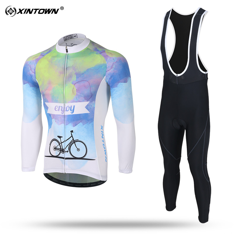XINTOWN Men Long Sleeve Cycling Jersey Set Quick dry MTB Bike Clothing Breathable Bicycle Jerseys Clothes Maillot Ropa Ciclismo
