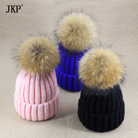 Baby Boy And Girl Winter Raccoon Fur Hat Kids Knitted Pom Pom Cap Natural Fur Winter