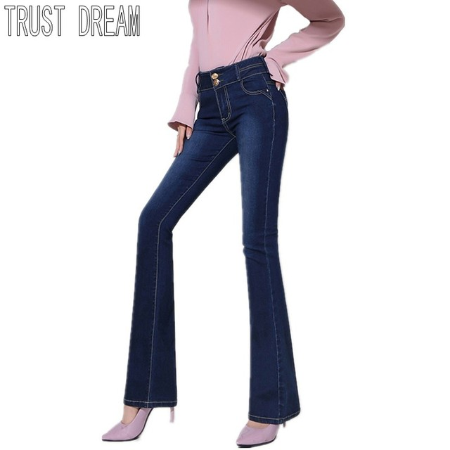 a4096f99f98caf TRUST DREAM Ladies Denim Flare Pants Casual High Waist Women Jeans Skinny  Fit Slim Full Length