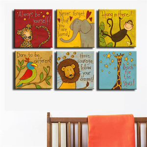 Image 2 - Canvas Prints Oil Painting 6 Pieces/set Modern Cartoon Animals Wall Pictures Kids Room Wall Decor No Frame Posters