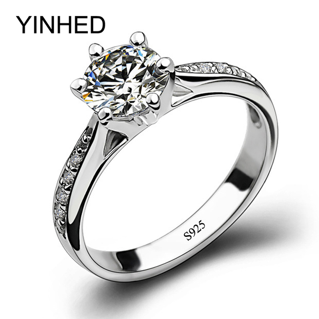 YINHED Real 925 Sterling Silver Wedding Band Rings Classic Six Claws 6*6mm Simulated CZ Diamant Engagement Ring for Women ZR22