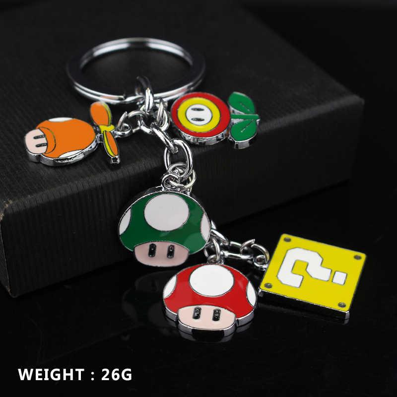 سوبر ماريو بروس الشكل اللعب سبيكة معدنية المفاتيح ماريو لويجي الفطر مفتاح المعلقات خاتم رئيسية للأطفال هدية