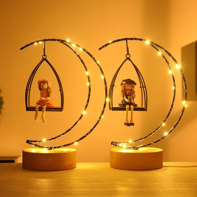 Novelty Creative Moon Girls LED Lamps Night Light Children Bedroom Decor Iron Nightlight Table Lamp Christmas Gift for Kids Baby