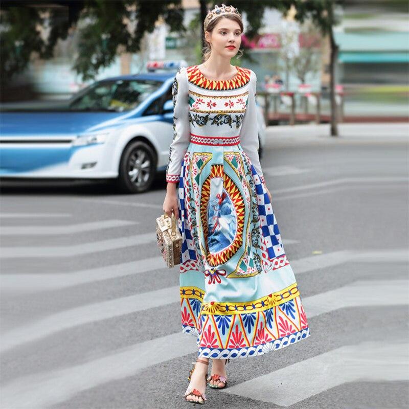 Complet Haute Imprimer Robe Femmes neck Longue Nouveau O Longueur Mode Printemps 2018 parole Qualité Slim Maxi Manches Rétro Vintage 76myIbfvYg