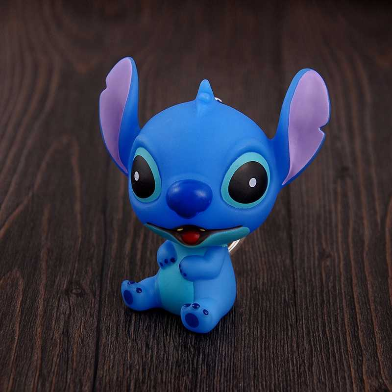 Lilo & Stitch dos desenhos animados bonecas Brinquedos corrente Chave Chave Anéis Carro Titular Saco Encantos Clef Pingente Porte Coelho Pompom pele macio chaveiros