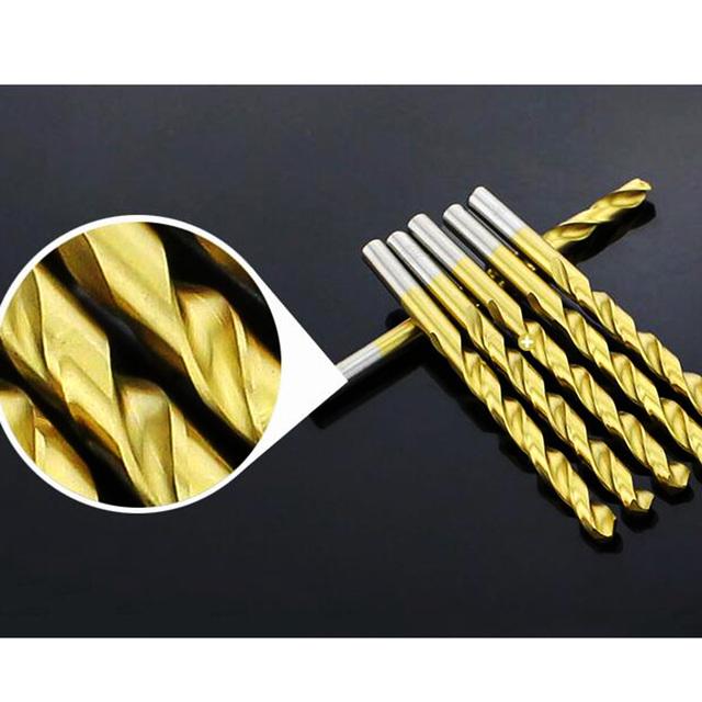 50PCs Titanium Coated Drill Bit Tungsten Carbide Twist Drill Bit Power  High Speed Steel Tool  Set 1/1.5/2.0/2.5/3mm