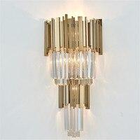 Modern luxury European Gold Crystal Sconce LED Wall Lamp decoration for bedroom Hotel Bedside Light ilumination