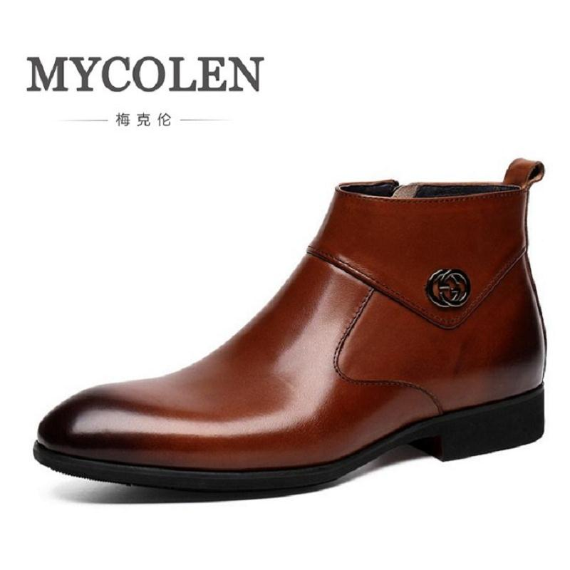 MYCOLEN New 2018 Autumn Early Winter Shoes Men Business Chelsea Boots Zipper Leather Shoes Fashion Men's Brand Ankle Boots