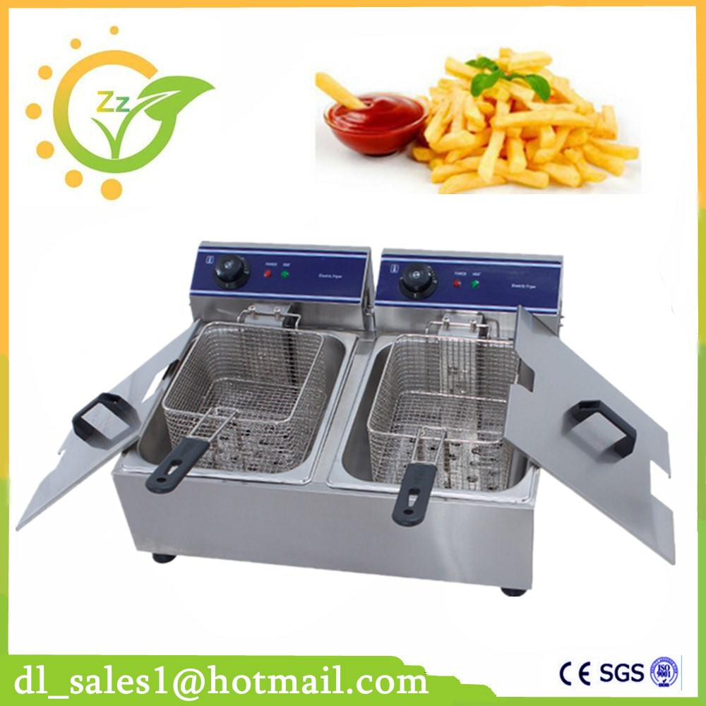 Kitchen Appliance 20L Double Cylinder Electric Fryer French Fries Chicken Electric Frying Pan Stainless Steel Deep Fryer Machine 220v electric deep fryer 8l commercial air fryer potato chip french fries chicken fryer