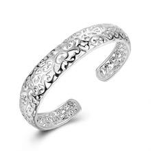 2018 Ny 925 Silver Lucky Women Öppna Manschett Bangle & Armband Luxury Silver Smycken Silver Small Hollow Bracelet Wholesale Retail
