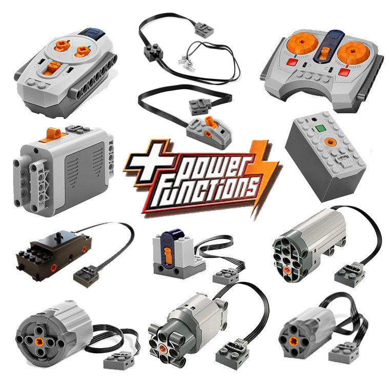 Technic Power Functions Motor Set IR RX TX Servo Battery Box Building Blocks Bricks Kids Toys