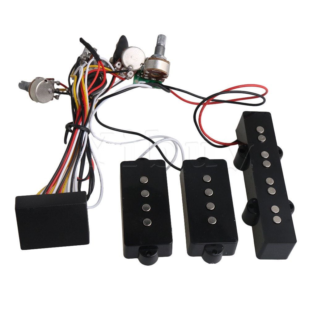Yibuy Black Prewired 3-Band Equalizer EQ Preamp Pickup Potentiometer Setting for JB PB Bass Guitar Accessory yibuy 1 set of 4 string sealed pickups for jb bass guitar
