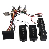 Yibuy Black Prewired 3 Band Equalizer EQ Preamp Pickup Potentiometer Setting for JB PB Bass Guitar Accessory