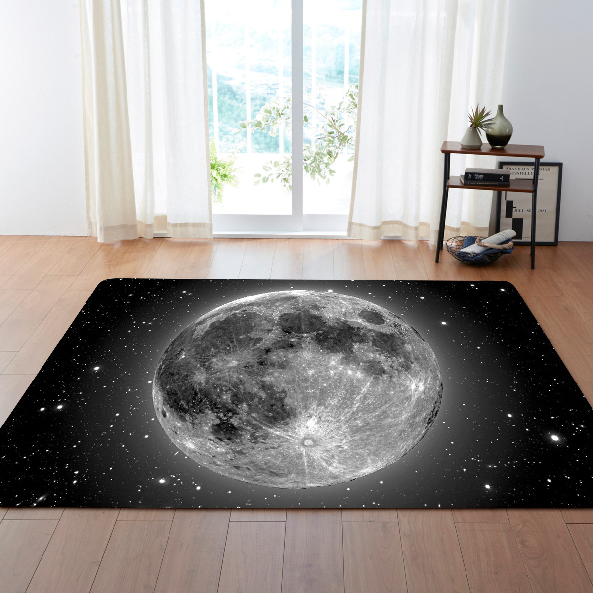 Demissir 3d Moon Print Grey Rectangle Large Living Room Carpet  -> Tapete Chenille Sala