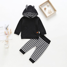 6M-3T New Fashion Newborn Boys Childrens Cute Rabbit Two-piece Soild Cotton Striped Black Boy Long-sleeved Suit Casual
