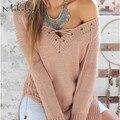 Makuluya 2016 женская мода свитера V воротник крест сексуальная Хеджирование свитера с длинным рукавом плюс размер свитер черный белый SWE-85-47
